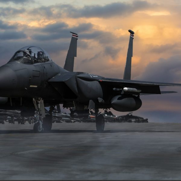 Photo of F-15 Eagle Fighter Plane at sunset